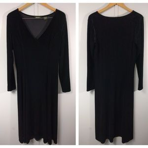 Eddie Bauer Black Velvet Velour Maxi Dress Gothic